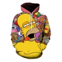 Funny 3D Cartoon Comic Character Print Long Sleeve Yellow Hoodie