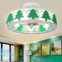 5 Lights Round Semi Flush Mount with Tree Children Bedroom Wood Ceiling Fixture in Green