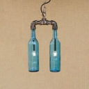 Glass Shade Bottle Hanging Light Retro Style 2 Lights Chandelier in Antique Bronze for Staircase