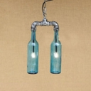 Antique Silver Pipe Hanging Lamp with Bottle Glass Shade Retro Style 2 Lights Chandelier