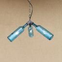 Triple Lights Bottle Chandelier Light Loft Style Amber/Blue/Clear/Smoke Glass Suspended Lamp