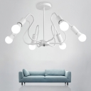 White Finish Curved Arm Chandelier Simplicity Iron 3/5/6 Heads Indoor Lighting Fixture