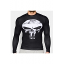 Cool Punisher Skull Printed Men's Ultra Stretch Gym Training Tight Long Sleeve T-Shirt