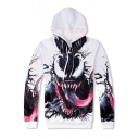 Popular 3D Venom Pattern Long Sleeve Loose Casual White Drawstring Hoodie