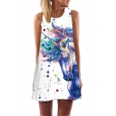 White 3D Unicorn Pattern Round Neck Sleeveless Mini Swing Tank Dress