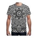Trendy Black 3D Mandala Print Basic Round Neck Short Sleeve Classic-Fit T-Shirt