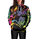Cool Street Style Skull Pattern Long Sleeve Black Casual Loose Pullover Hoodie