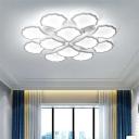 Multi Light Leaves Semi Flushmount with White Acrylic Shade Contemporary LED Ceiling Light