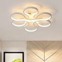 Acrylic 2 Tiers Ceiling Lamp with Curved Shape Contemporary LED Semi Flush Mount in White