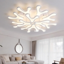 White 2 Tiers LED Ceiling Light with Snowflake Modernism Metallic Multi Light Semi Flush