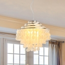 3 Heads Fountain Hanging Light Vintage Shelly Chandelier Lamp in Chrome for Living Room