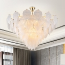 Multi Light Leaf Design Drop Light Nordic Style Seedy Glass Chandelier Lighting in Gold