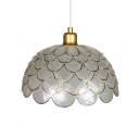 Dome Shade Drop Light with Fish Scale Design Stylish Simple Shelly 1 Head Pendant Light in Brass