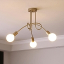 Gold Bare Bulb Lighting Fixture with Twisted Arm Modern Chic Metal Triple Heads Semi Flush