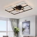 Modernism Oblong Shape Lighting Fixture Metallic LED Flush Mount in Black for Sitting Room