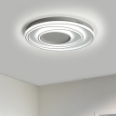 White Circular Ring LED Ceiling Fixture Contemporary Metallic Ceiling Light for Living Room