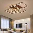 Brown Square Frame Flush Mount Contemporary Metallic LED Ceiling Lamp for Exhibition Hall