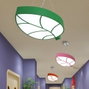 Green/Pink Leaf Flushmount Nordic Style Metal LED Flush Light Fixture for Amusement Park