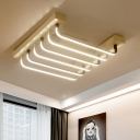 Modern Chic Bar Flush Light Fixture Metal 6 Lights LED Flush Mount in Warm/White for Corridor
