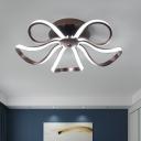 Modernism Flower LED Lighting Fixture Metallic Flush Mount in Warm/White for Coffee Shop