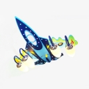 Aircraft 4 Lights Semi Flush Light Dark Blue Wooden Ceiling Light for Baby Kids Room