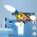Airplane 3 Lights Lighting Fixture Blue Metallic Decorative Chandelier Light for Boys Room