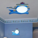 Blue/Pink Ship Design Wall Light with Acrylic Shade LED Sconce Light for Boys Girls Room