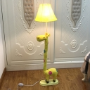 Blue/Yellow Giraffe Floor Lamp with Bell Fabric Shade Single Light Standing Light for Living Room