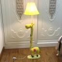 Blue/Yellow Giraffe Floor Lamp with Bell Fabric Shade Single Light Standing Light for Living Room
