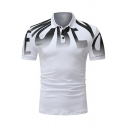 Unique Letter Printed Short Sleeve Three-Button Men Classic-Fit Polo Shirt