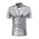 Men's Shiny Night Club Polo Shirt Plain Short Sleeve Metallic Polo Shirt for Dance Party