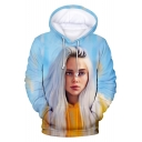 3D Figure American Singer-Songwriter Printed Long Sleeve Light Blue Drawstring Hoodie
