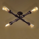 Oil Rubbed Bronze 4-Light LED Semi Flush Mount Ceiling Fixture