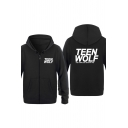 Popular Teen Wolf Letter Printed Basic Zip Up Regular Fitted Hoodie