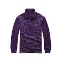New Fashion Letter Graffiti Print Men's Cotton Long Sleeve Purple Polo Shirt