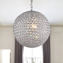 Luxury Modern Globe Suspension Light Crystal 2/4 Lights Decorative Chandelier in Chrome for Hotel Hall