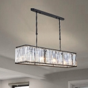 Linear Hanging Lamp Modern Design Decorative Crystal 3 Lights Chandelier in Black for Dining Room