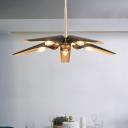 5 Lights Oblique Suspension Light Post Modern Metal Art Deco Chandelier Lamp in Brass Finish
