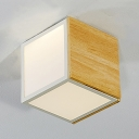 Wooden Cube Flush Ceiling Light Nordic Style LED Flush Mount in Warm/White for Corridor Hallway