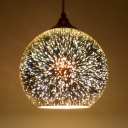 Global Hanging Lamp with Meteor Shower Design Contemporary 3D Colored Glass 1 Head Suspension Light