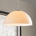 Cream Acrylic Shade Dome Suspended Light Modernism 1 Light Ceiling Pendant Light for Sitting Room