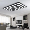 Ultra Thin Rectangular Flushmount Modern Design Metal Art Deco LED Ceiling Fixture in Warm/White