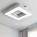 Single Square LED Flush Light Monochromatic Acrylic Decorative Ceiling Flush Mount in Warm/White