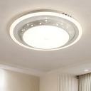 Nordic Style Round Flush Light Acrylic Shade LED Surface Mount Ceiling Light in Warm/White for Bedroom