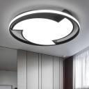 Black Halo Ring LED Ceiling Light Nordic Style Acrylic Shade Eye Protection Flushmount for Restaurant