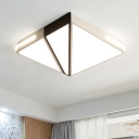 Modernism Minimalist Squared Flush Light Eye Protection Metallic Surface Mount LED Light in Warm/White