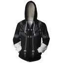 Kingdom Hearts Cosplay Costume Long Sleeve Black Fitted Zip Up Drawstring Hoodie