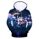 Norwegian DJ 3D Lightning Glacier Print Cool Double W Logo Blue Long Sleeve Drawstring Hoodie