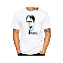 Fictional Character Figure Letter FALSE Print Crewneck Short Sleeve White T-Shirt