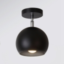 Industrial Nordical Semi-Flush Ceiling Light with Globe Metal Shade in Black/White